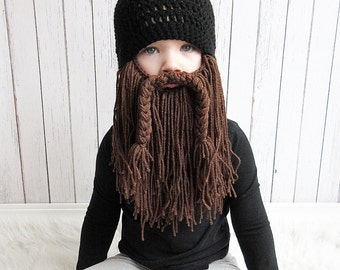 Biker Beard Hat, Custom Beard Crochet Hat, Baby beard hat