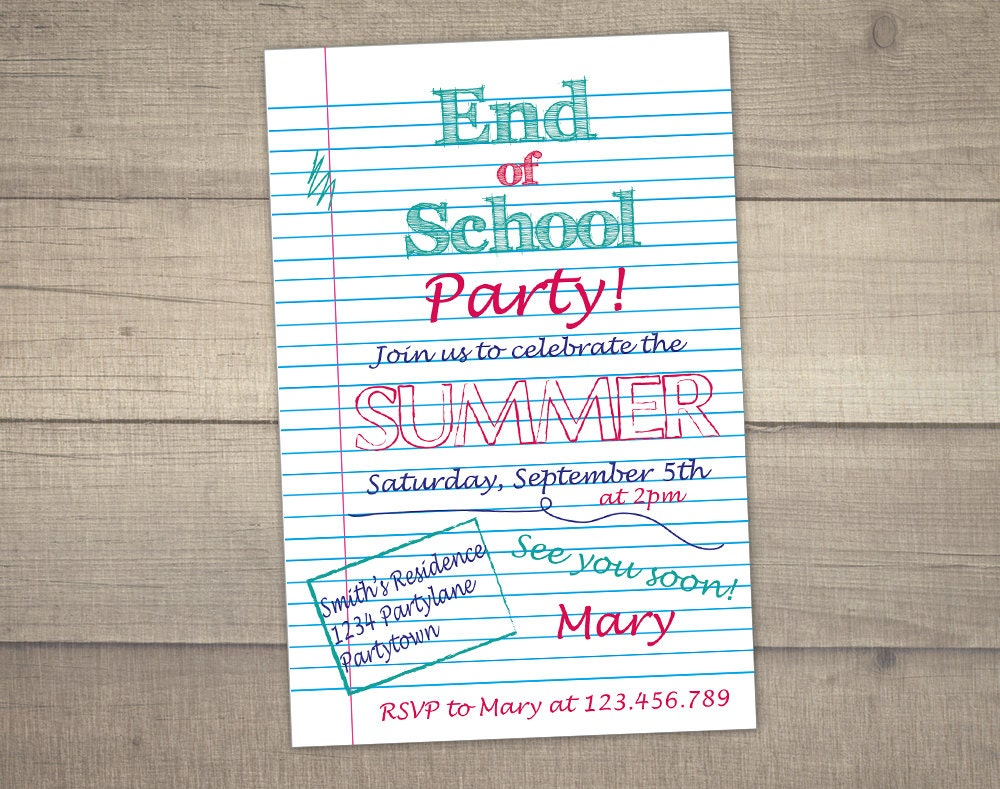 end of school party invitation summer party invitation. Black Bedroom Furniture Sets. Home Design Ideas