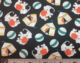 Everything But The Kitchen Sink RJR Elephants Circus Tents on Black 1930's Repros Quilt Fabric