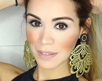 Boho Earring Set, Boho Earrings Women, Gold Chandelier Earrings, Lace Earrings, Handmade Earrings, Jewelry designs,Statement Earrings,Tatted