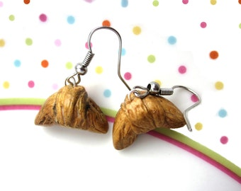 Polymer Clay Croissant Earrings,Croissant Jewellery, Polymer Clay Food Earrings,  French Pastry Earrings