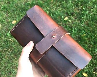 Horween leather Dopp kit, toiletry kit, shaving kit, travel holder, personalized Dopp kit