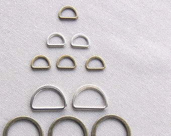 Metal STIRRUP buckle D ring strap 10mm or 20mm half round nickel or oxidized pricing