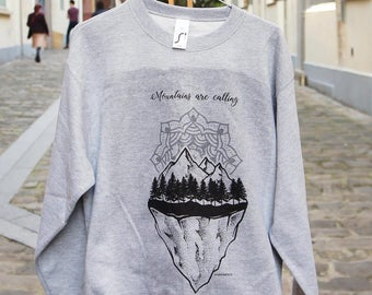 Mountains are calling - Mandala - Gray Sweatshirt