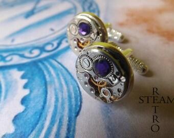 Steampunk purple velvet Cufflinks Steamretro - Men Jewelry by Steamretro, Men cufflinks - Christmas gift