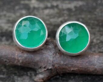 Green onyx earrings / large stud earrings / sterling silver stud earrings / gift for her / natural gemstone earrings / jewelry sale