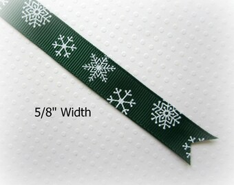 "Green Christmas Ribbon. Snowflake Ribbon. Grosgrain Christmas Ribbon. 5/8"" Width. 3 YARDS."