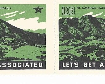 "Tydol Flying ""A""  Gas  ""Lets Get Associated"" Mt Tamalpais Caifornia Poster Stamps 1930's"