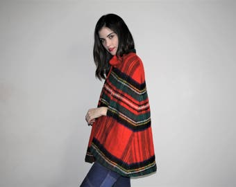 1970s Vintage Hippie Mod Red Plaid Poncho Cape - Vintage 60s Hippie Cape - W00762