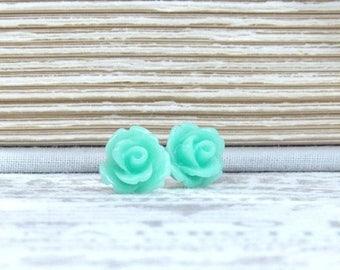 Seafoam Green Rose Studs Green Flower Earrings Rose Stud Earrings Surgical Steel Studs Green Rose Earrings