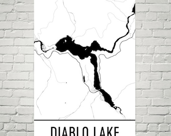 Diablo Lake Washington, Diablo Lake WA, Diablo Lake Map, Washington Map, Lake House Decor, Lake Map, Diablo Lake Print, Diablo Lake Art