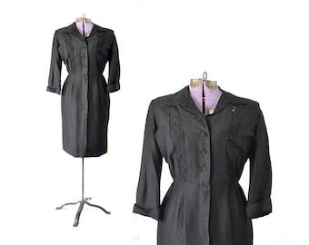 Patio Dress, Black 1950s Dress, 50s Dress, Crochet Dress, Cuban Style Dress, Vintage Clothing Dress, Vintage Dress