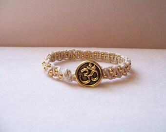 Gold Om Beaded Macrame Bracelet, Hemp Bracelet, Macrame Jewelry, Om Bracelet, Om Jewelry,  Yoga Jewelry, Hemp Jewelry, Gift For Yoga Lover