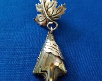 Hecho en 0925 Mexico sterling marked leaf pendant