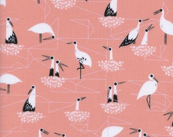Cotton and Steel - Stork Fabric -  From Porto with Love by Sarah Watts for Cotton and Steel - Stork Nest Pink - Fabric by the Half Yard
