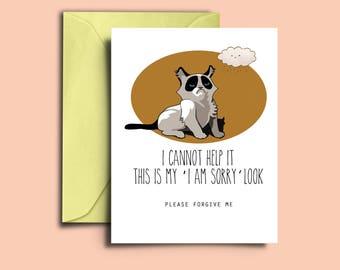 Printable Funny Sorry Card Apology Card for Boyfriend Girlfriend Husband Wife Friend Fiance Grumpy Cat  Apology I'm Sorry Forgive Me Card
