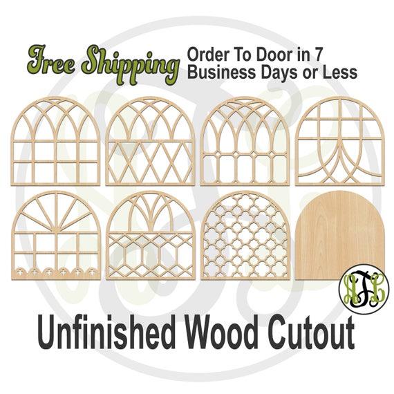 Farmhouse Window Designs - 4500008-15- Architectural Cutout, unfinished, wood cutout, laser cut shape, wood cut out, Door Hanger, wood art