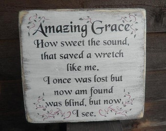 Amazing Grace wood sign, wood sign, hand painted and distressed to give a vintage look, wall decor
