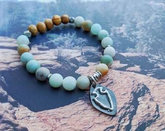 Amazonite + Olivewood Bracelet with Arrowhead Charm - Rustic Boho Layering Bracelet - Boho Festival Beaded Stretch Bracelet