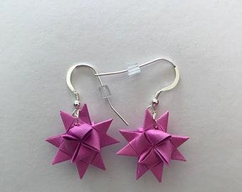 Moravian Star Earrings—Raspberry