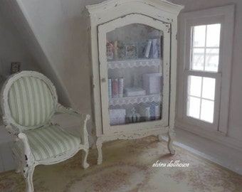 Romantic Shabby French Cabinet and Accessories, Dollhouse Miniature, 1:12 Scale Dolls House