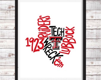 Texas Tech | Raiders | Printable Art | College Student Gift | College Graduation | Dorm Room Decor | Wall Art | Wall Decor