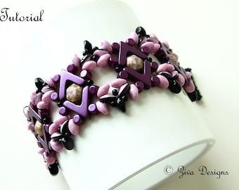 Bracelet beading pattern tutorial, beadweaving with Ava beads, Honeycomb Jewel beads, Minos and SuperDuo and seed beads, Chocolat