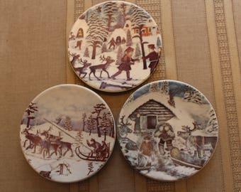 Finnish Arabia Winter Themed Decorative Plates by A. Alariesto