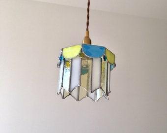 Merry-go-round pendant light blue yellow glass BayView