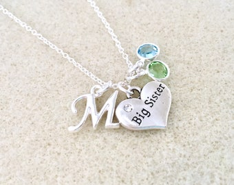 Big sister necklace with letter big sister gift for big sister birthday gift new big sister gift from baby announcement gift for sister