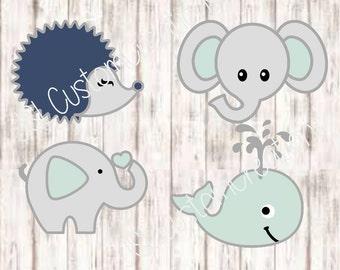 Baby Animal Design Bundle Set SVG, DXF, EPS, png files, Hedgehog, Elephant, Whale, for Cricut, Silhouette, Vectors