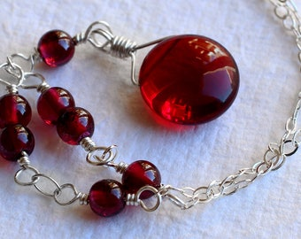 Garnet Necklace - Garnet Jewelry - Sterling Silver Necklace - January Birthstone - Red Necklace