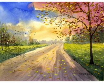 Aquarelle paysage peinture IMPRIMER country road automne arbres saisons paysage lane forêt automne couleurs rose d'olive jet d'ENCRE