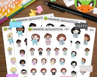 PJ Day Kawaii Girls - PJs Lazy Day Pajamas Coffee Morning - Planner Stickers (K0045)