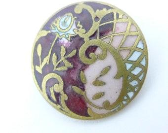 Antique Art Nouveau Flower Champleve Pink Red Enamel  Button