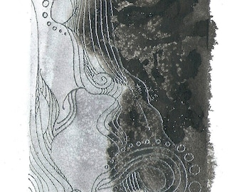 """Octopus Painting - Les Poulpes d'Argent - Fine Art Giclee Print of 6""""x4"""" Grayscale with Silver Accents"""