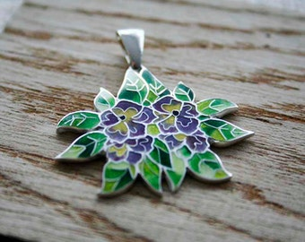 Silver cloisonne hot enamel pendant jewelry Violet Tricolor  Hot enamel  spring  Green yellow violet Gift for her Mothers day gift