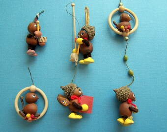 Vintage Handmade Acorn Ornaments Fairy Garden