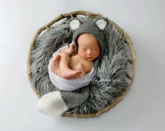 Little Wolf Bonnet Hat , Tail and overlay on feet Set, Photo Prop