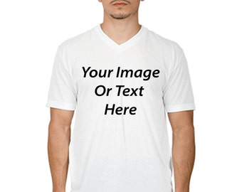 Customized All Over Printed Mens V-Neck T-Shirt