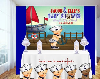 PRINTABLE Ahoy It's a Boy Baby Shower, Candy Table Backdrop, Photo Backdrop, Step and Repeat, Nautical Baby Boy, Birthday, Welcome Sign