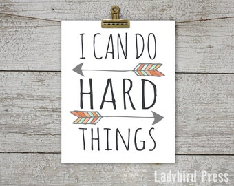 Printable Home Decor - I Can Do Hard Things - Tribal -  Sign - Gift - Motivational Quote - PDF - Instant Download