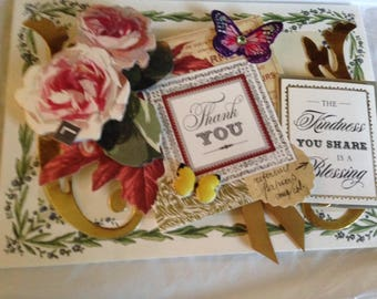 """Thank You Card/Handmade Card/3D/Floral/Features Pink Roses and Butterflies; Has Two """"Thank You"""" Greetings"""