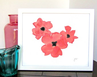 Red Poppies Watercolor Print - Floral Wall Decor - Spring Wall Decor - Summer Wall Decor - Unique Gift - Gift for Her - Gift for Him