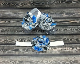Barefoot Baby Sandals - Baby Barefoot Sandals - Baby Accessories - Newborn Shoes - Baby Shoes - Toe Blooms -  Blue & Black Baby Sandals