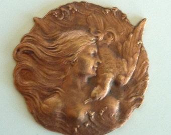 Vintage French Brass Stamping/Artemis Goddess(1pc) Vintage Brass Goddess/Old Stampings/Art Deco Stampings/Art Nouveau Goddess Stampings[#44]