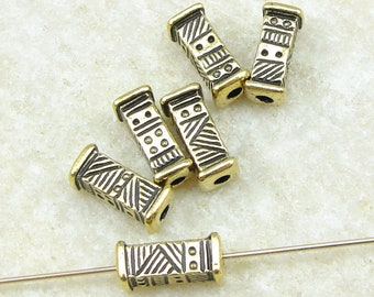 9mm Long Rectangular Tube Barrel Bead - TierraCast Ethnic Short Bead - Antique Gold Beads for Jewelry Making - 6 or more pieces (P2474)