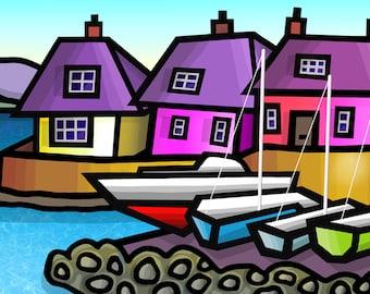 Abersoch Harbour - colourful fine art print by Amanda Hone