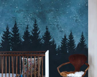 Forest Trees Night Scene Mural Wallpaper, Navy, Extra Large Wall Art, Peel and Stick Wall Poster
