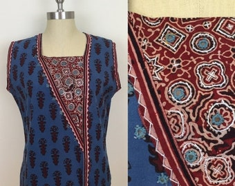 30% Off Sale 90s Blue Maroon Mirrored Hippie Sleeveless Blouse, Size Large